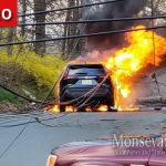 Spring Valley: Downed Utility Pole Sets Car on Fire, Leaves Large Area in the Dark