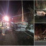 Car Hits Utility Pole, Bursts Into Flames