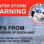 Chaverim of Rockland Gives Tips For Safety During The Upcoming Storm
